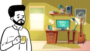 evden çalışan işletme sahibini temsil eden görsel