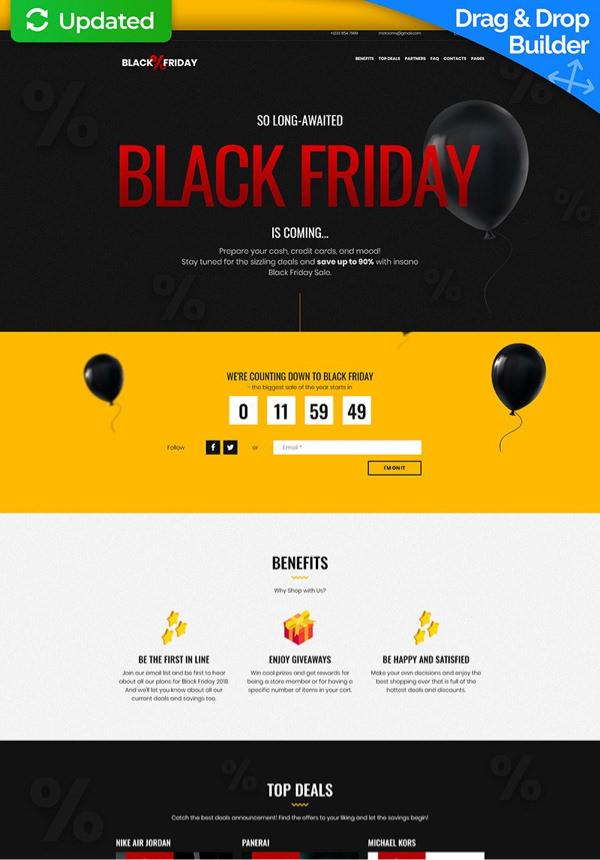 Kara Cuma (Black Friday) kampanyasını temsil eden geri sayımlı website tasarımı